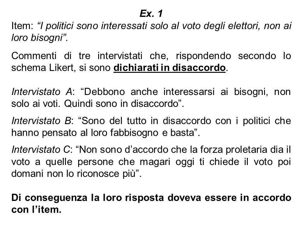 Ex. 1 Item: I politici sono interessati solo al voto degli elettori, non ai loro bisogni. Commenti di tre intervistati che, rispondendo secondo lo sch