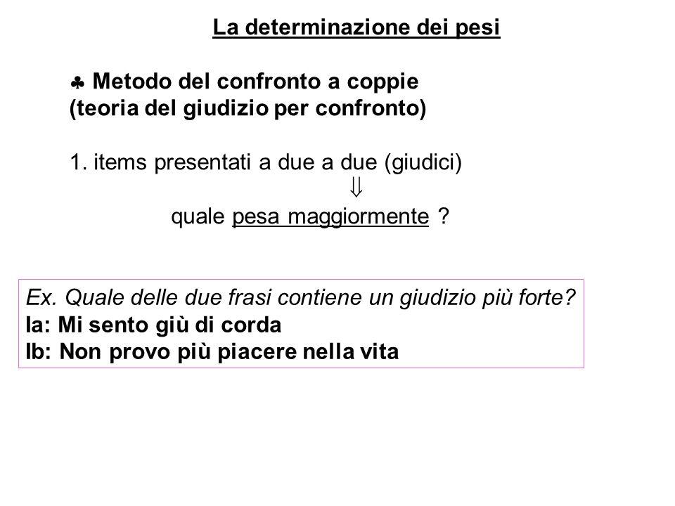 La determinazione dei pesi Metodo del confronto a coppie (teoria del giudizio per confronto) 1. items presentati a due a due (giudici) quale pesa magg