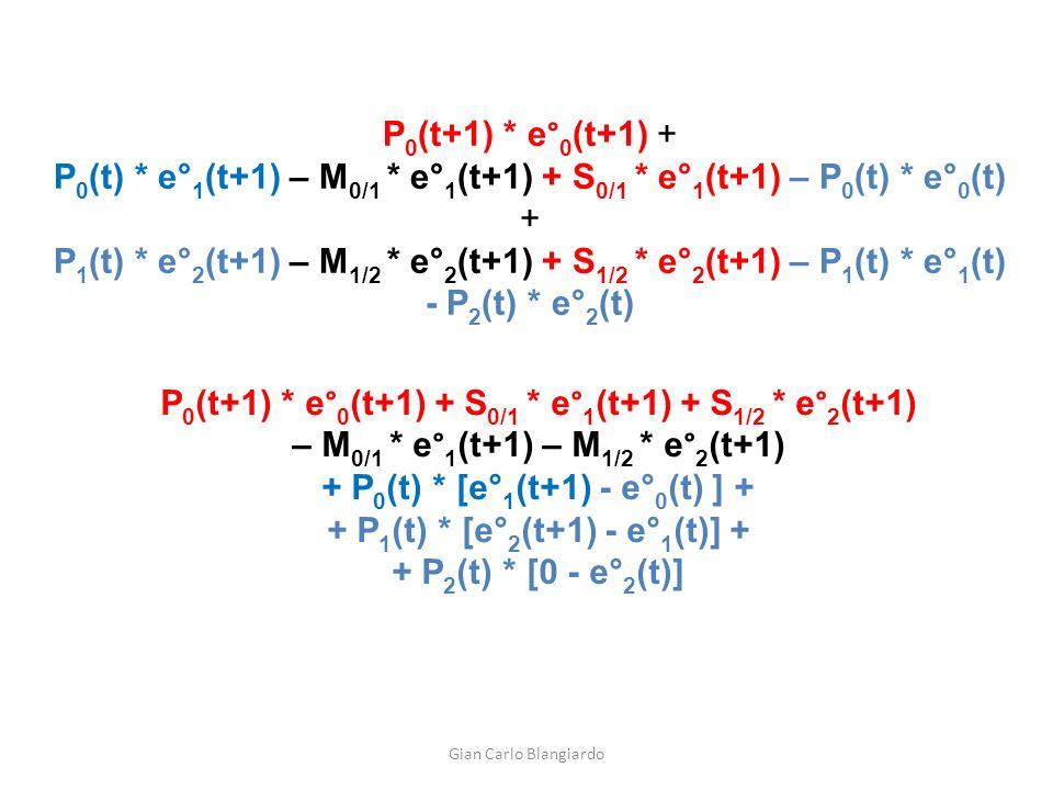 P 0 (t+1) * e° 0 (t+1) + P 0 (t) * e° 1 (t+1) – M 0/1 * e° 1 (t+1) + S 0/1 * e° 1 (t+1) – P 0 (t) * e° 0 (t) + P 1 (t) * e° 2 (t+1) – M 1/2 * e° 2 (t+1) + S 1/2 * e° 2 (t+1) – P 1 (t) * e° 1 (t) - P 2 (t) * e° 2 (t) P 0 (t+1) * e° 0 (t+1) + S 0/1 * e° 1 (t+1) + S 1/2 * e° 2 (t+1) – M 0/1 * e° 1 (t+1) – M 1/2 * e° 2 (t+1) + P 0 (t) * [e° 1 (t+1) - e° 0 (t) ] + + P 1 (t) * [e° 2 (t+1) - e° 1 (t)] + + P 2 (t) * [0 - e° 2 (t)] Gian Carlo Blangiardo