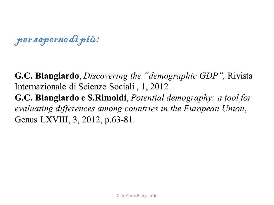 G.C. Blangiardo, Discovering the demographic GDP, Rivista Internazionale di Scienze Sociali, 1, 2012 G.C. Blangiardo e S.Rimoldi, Potential demography