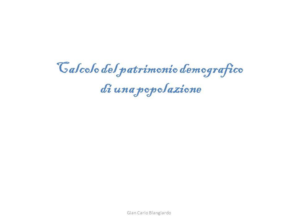Calcolo del patrimonio demografico di una popolazione Gian Carlo Blangiardo