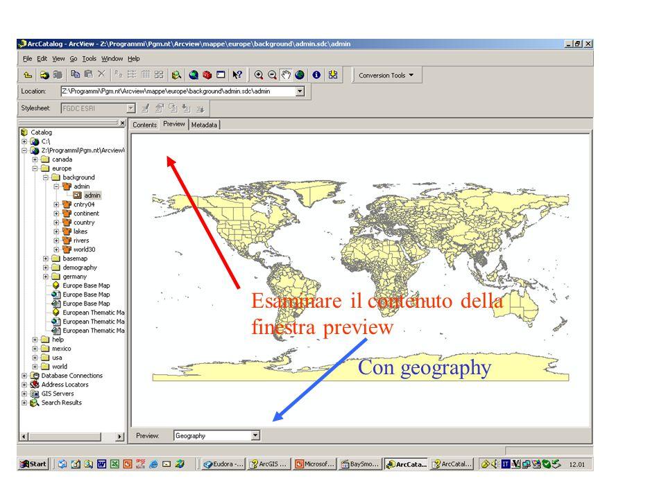 Esaminare il contenuto della finestra preview Con geography
