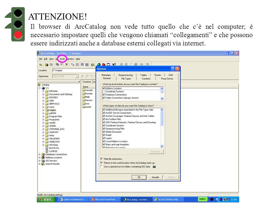 ATTENZIONE! Il browser di ArcCatalog non vede tutto quello che cè nel computer; è necessario impostare quelli che vengono chiamati collegamenti e che