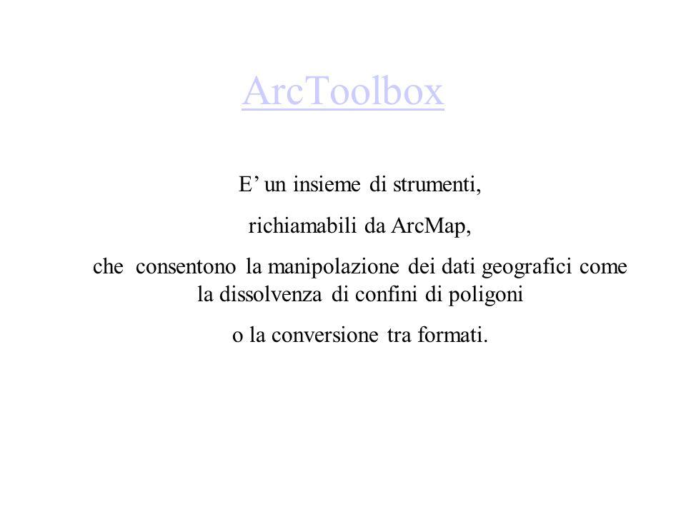 ArcToolbox E un insieme di strumenti, richiamabili da ArcMap, che consentono la manipolazione dei dati geografici come la dissolvenza di confini di po