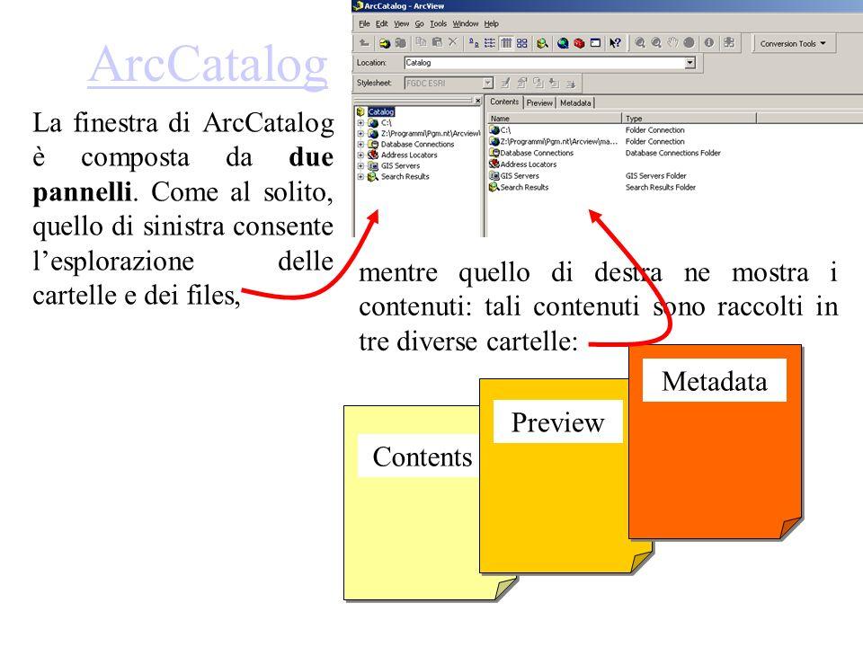 ArcCatalog La finestra di ArcCatalog è composta da due pannelli. Come al solito, quello di sinistra consente lesplorazione delle cartelle e dei files,