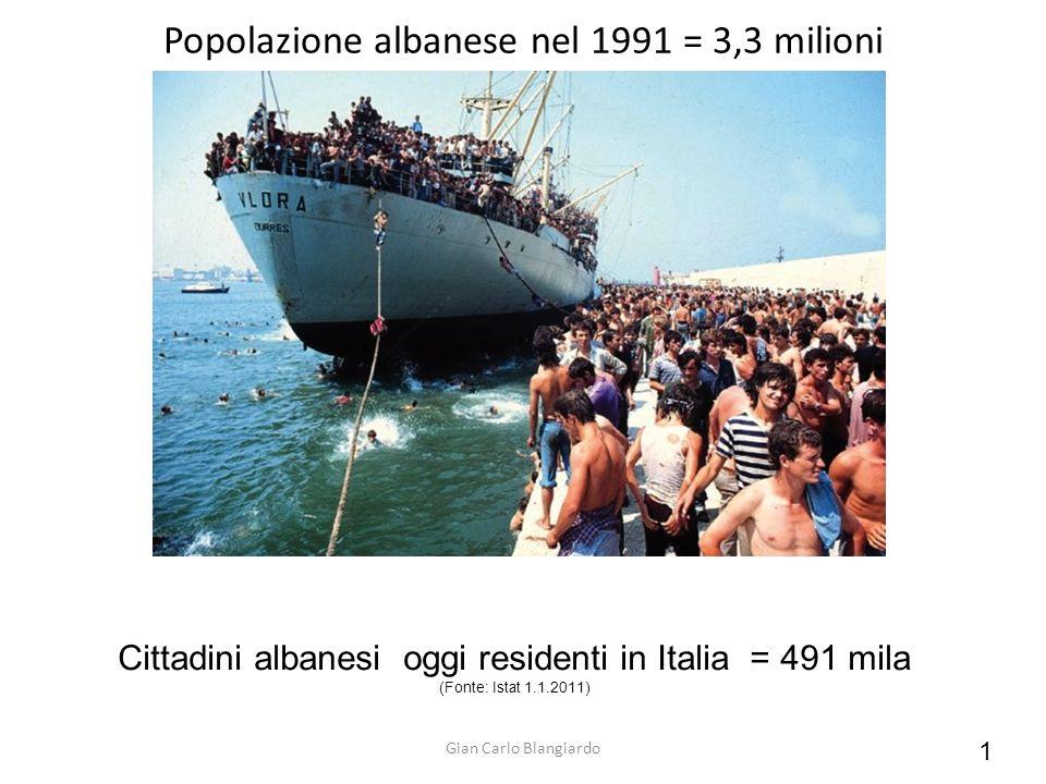 Popolazione albanese nel 1991 = 3,3 milioni Cittadini albanesi oggi residenti in Italia = 491 mila (Fonte: Istat 1.1.2011) Gian Carlo Blangiardo 1
