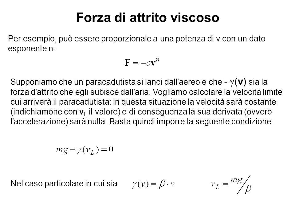 Forza di attrito viscoso Per esempio, può essere proporzionale a una potenza di v con un dato esponente n: Supponiamo che un paracadutista si lanci da