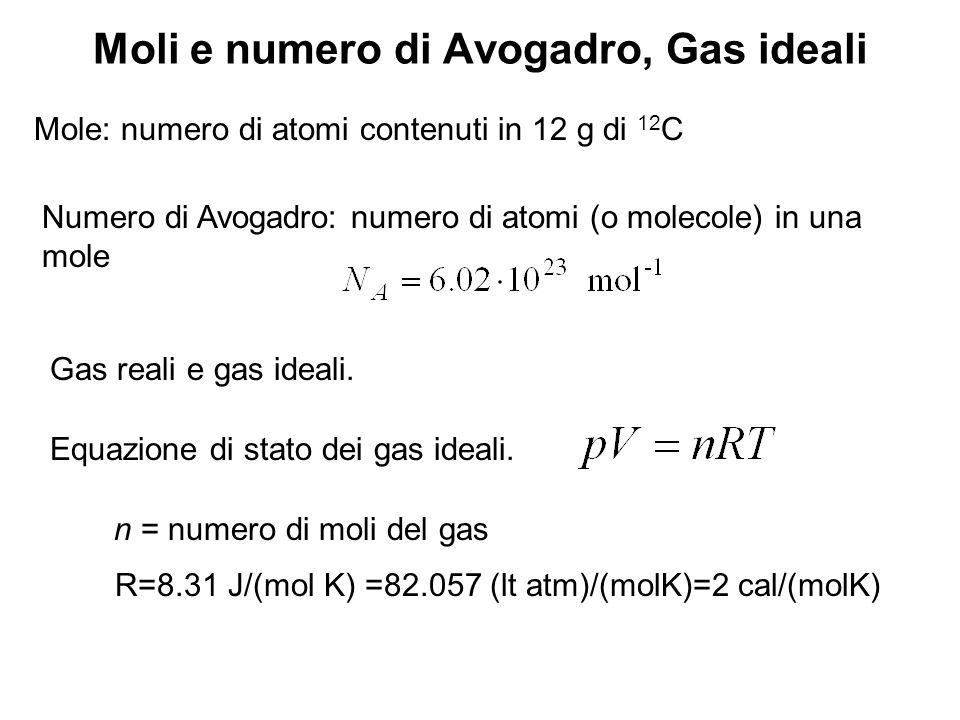 Moli e numero di Avogadro, Gas ideali Mole: numero di atomi contenuti in 12 g di 12 C Numero di Avogadro: numero di atomi (o molecole) in una mole Gas reali e gas ideali.