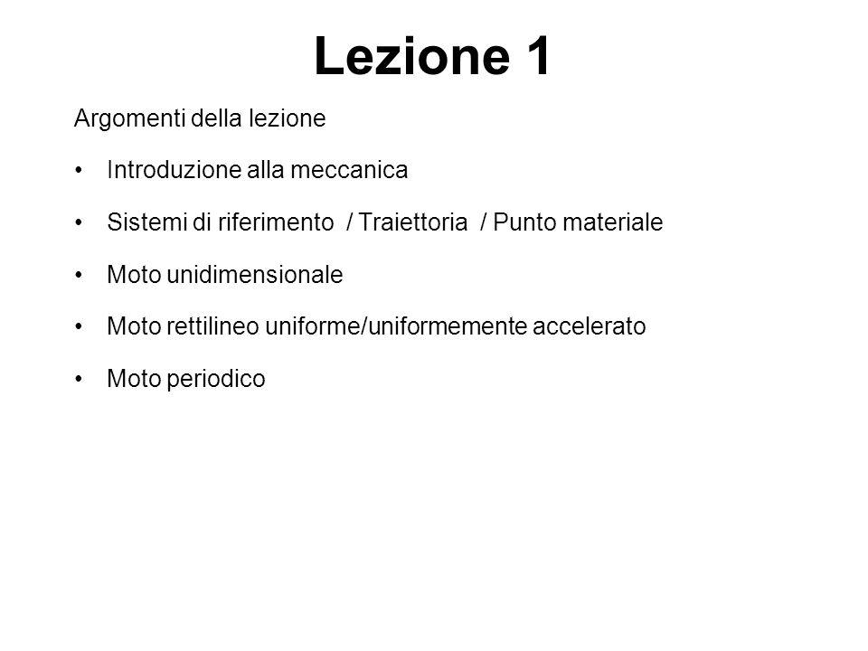 Lezione 1 Argomenti della lezione Introduzione alla meccanica Sistemi di riferimento / Traiettoria / Punto materiale Moto unidimensionale Moto rettili