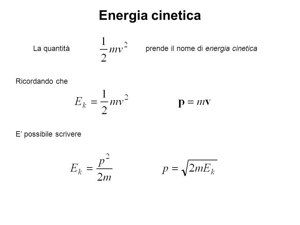Energia cinetica La quantitàprende il nome di energia cinetica Ricordando che E possibile scrivere