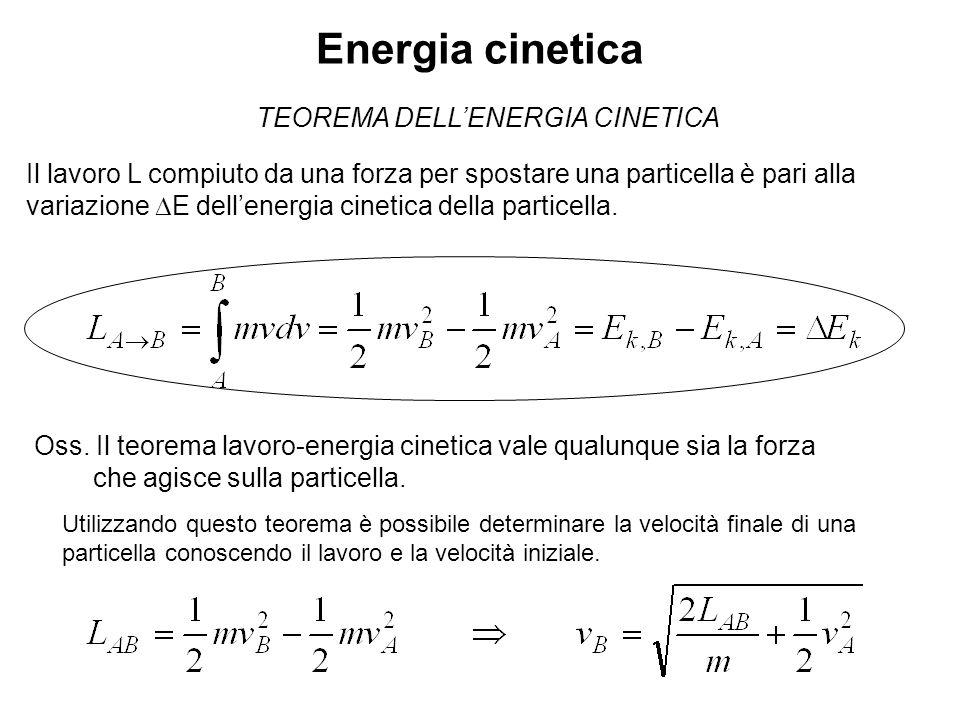 Energia cinetica TEOREMA DELLENERGIA CINETICA Il lavoro L compiuto da una forza per spostare una particella è pari alla variazione E dellenergia cinet