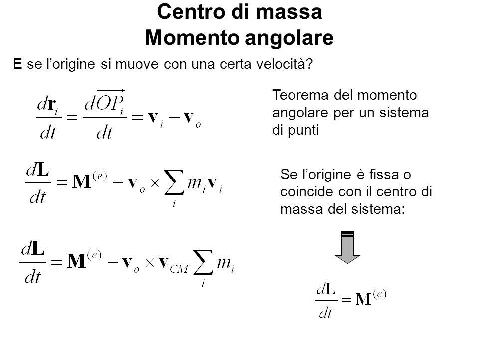 Centro di massa Momento angolare E se lorigine si muove con una certa velocità.