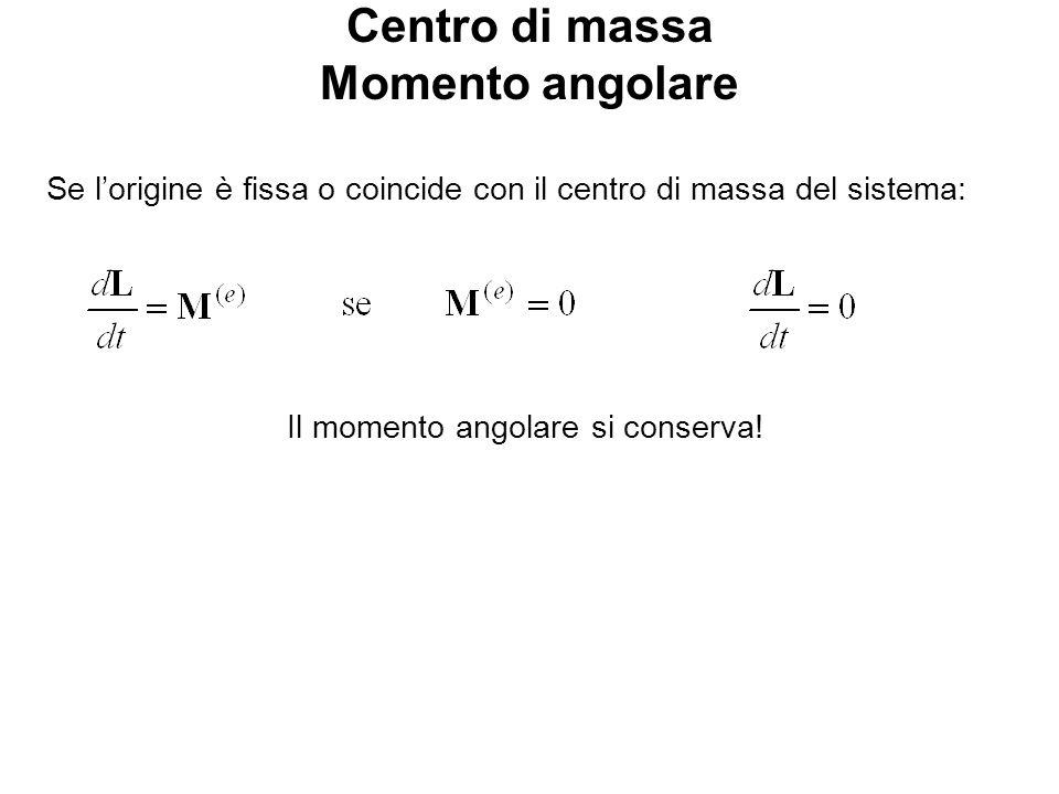 Centro di massa Momento angolare Se lorigine è fissa o coincide con il centro di massa del sistema: Il momento angolare si conserva!