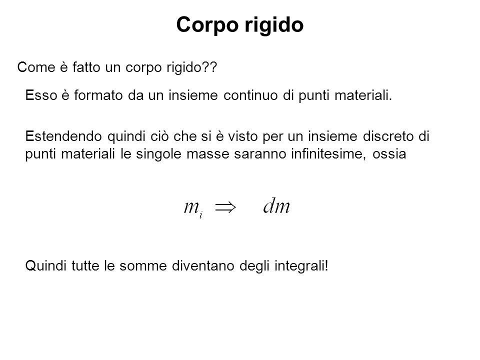 Centro di massa di un corpo rigido Definiamo il centro di massa di un sistema di punti materiali la seguente grandezza: Se definiamo la densità come: con dV elemento di volume occupato da dm