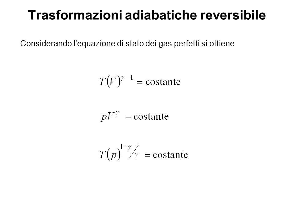 Trasformazioni isoterme Considerando lequazione di stato dei gas perfetti si ottiene nel caso di isoterma reversibile