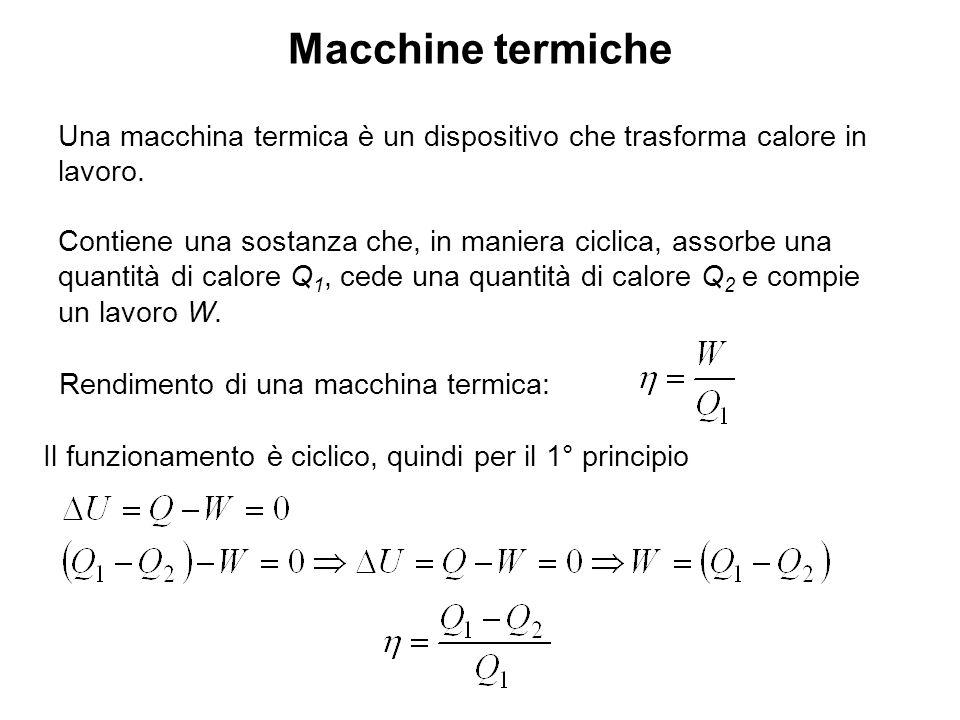 Macchine termiche Schema di una generica macchina termica: Schema di una generica macchina frigorifera: Rendimento: Efficienza: