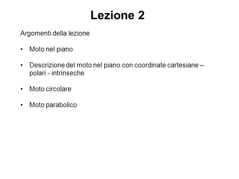 Argomenti della lezione Moto nel piano Descrizione del moto nel piano con coordinate cartesiane – polari - intrinseche Moto circolare Moto parabolico