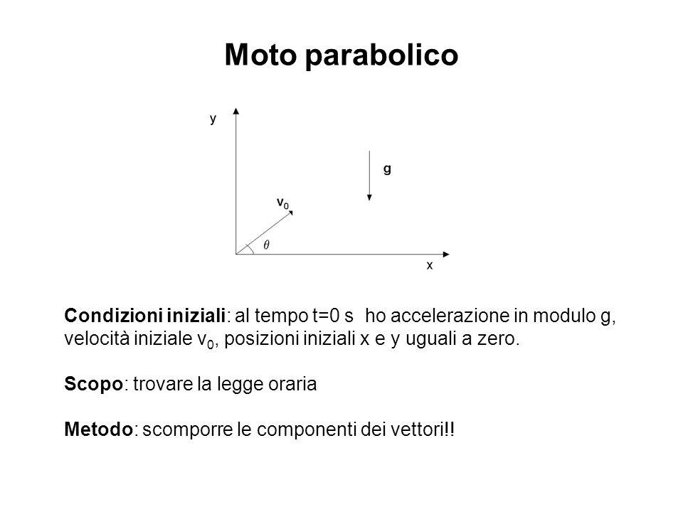 Moto parabolico Condizioni iniziali: al tempo t=0 s ho accelerazione in modulo g, velocità iniziale v 0, posizioni iniziali x e y uguali a zero. Scopo
