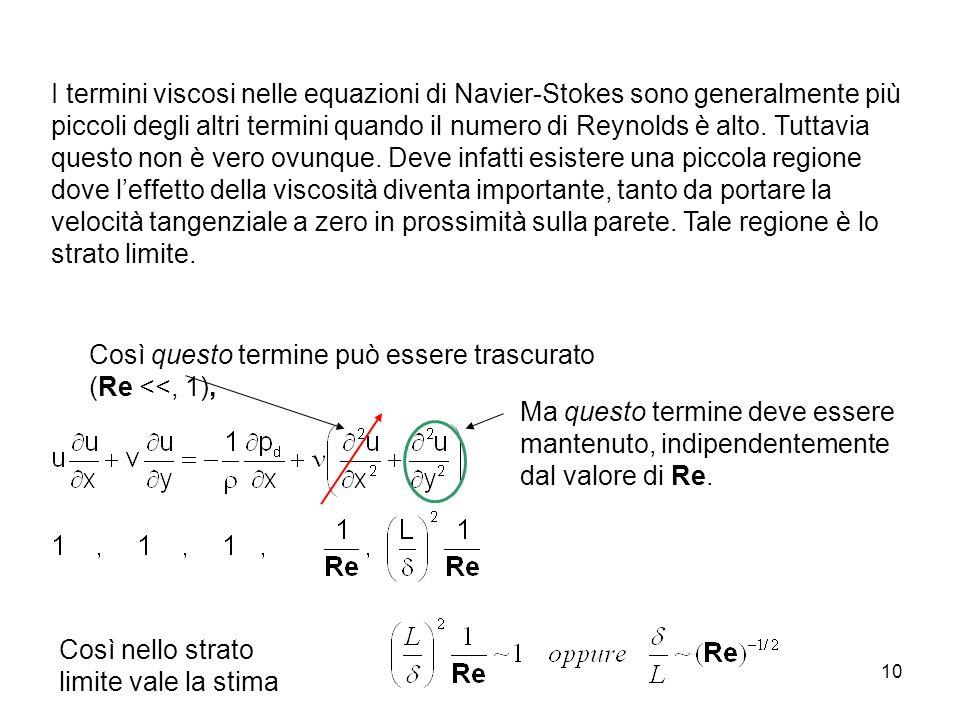 10 I termini viscosi nelle equazioni di Navier-Stokes sono generalmente più piccoli degli altri termini quando il numero di Reynolds è alto. Tuttavia