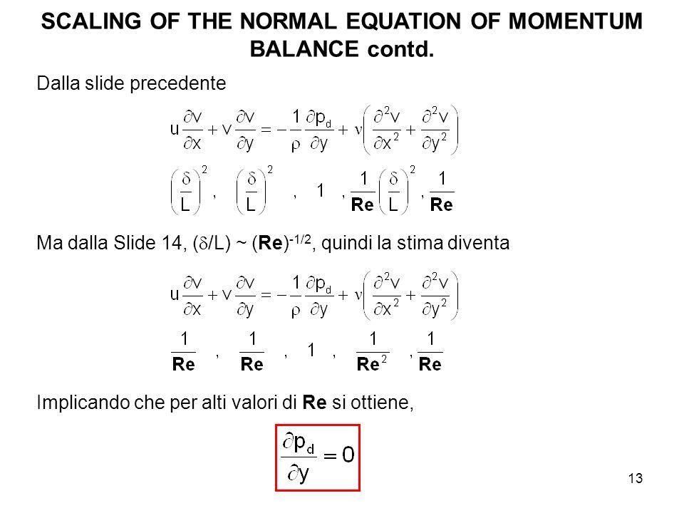 13 SCALING OF THE NORMAL EQUATION OF MOMENTUM BALANCE contd. Dalla slide precedente Ma dalla Slide 14, ( /L) ~ (Re) -1/2, quindi la stima diventa Impl