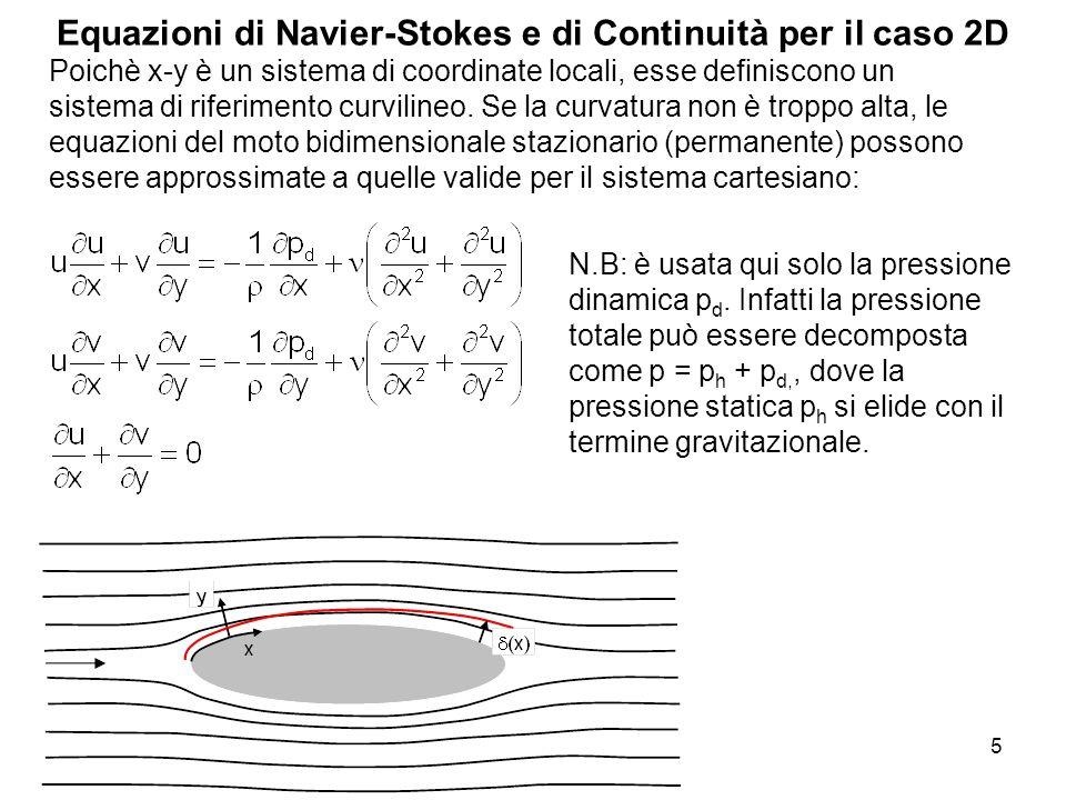 5 Equazioni di Navier-Stokes e di Continuità per il caso 2D Poichè x-y è un sistema di coordinate locali, esse definiscono un sistema di riferimento c
