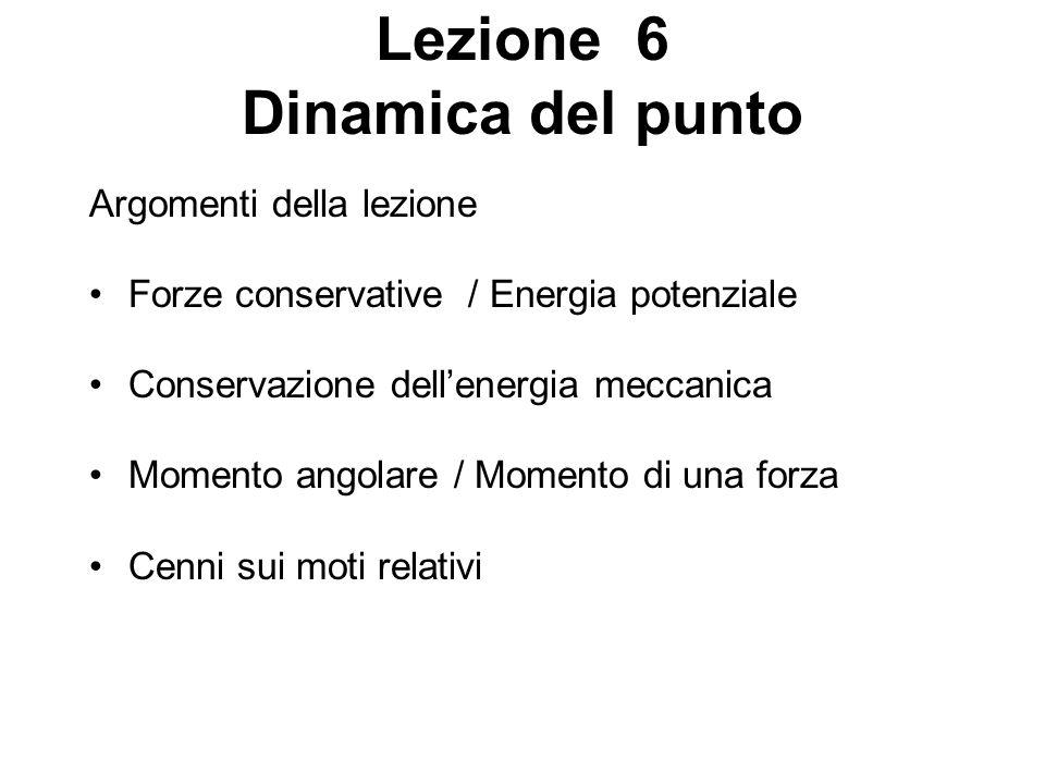 Lezione 6 Dinamica del punto Argomenti della lezione Forze conservative / Energia potenziale Conservazione dellenergia meccanica Momento angolare / Mo