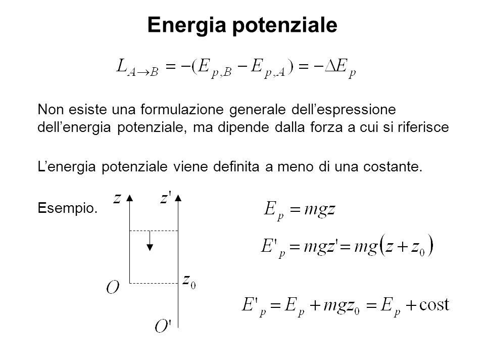Energia potenziale Non esiste una formulazione generale dellespressione dellenergia potenziale, ma dipende dalla forza a cui si riferisce Lenergia pot