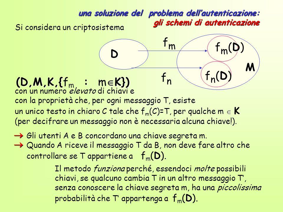 una soluzione del problema dellautenticazione: gli schemi di autenticazione con un numero elevato di chiavi e con la proprietà che, per ogni messaggio T, esiste un unico testo in chiaro C tale che f m (C)=T, per qualche m K (per decifrare un messaggio non è necessaria alcuna chiave!).