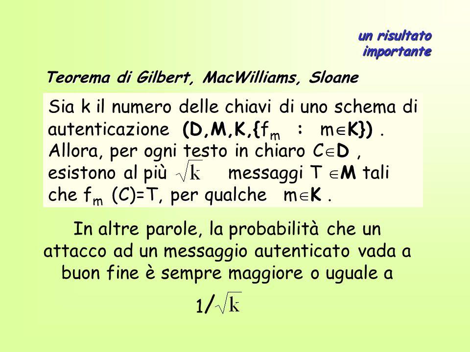 (D,M,K,{ : K}) Sia k il numero delle chiavi di uno schema di autenticazione (D,M,K,{f m : m K}). D M (C)=T, per qualche K Allora, per ogni testo in ch