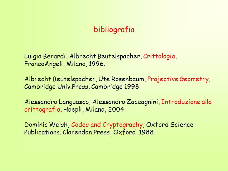 bibliografia Luigia Berardi, Albrecht Beutelspacher, Crittologia, FrancoAngeli, Milano, 1996. Albrecht Beutelspacher, Ute Rosenbaum, Projective Geomet