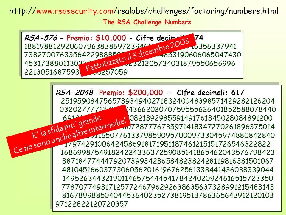 RSA-576 - Premio: $10,000 - Cifre decimali: 174 18819881292060796383869723946165043980716356337941 73827007633564229888597152346654853190606065047430