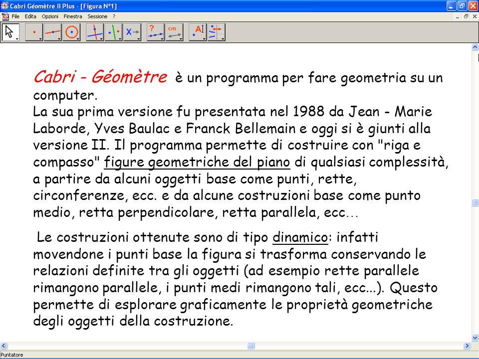 Cabri - Géomètre è un programma per fare geometria su un computer. La sua prima versione fu presentata nel 1988 da Jean - Marie Laborde, Yves Baulac e