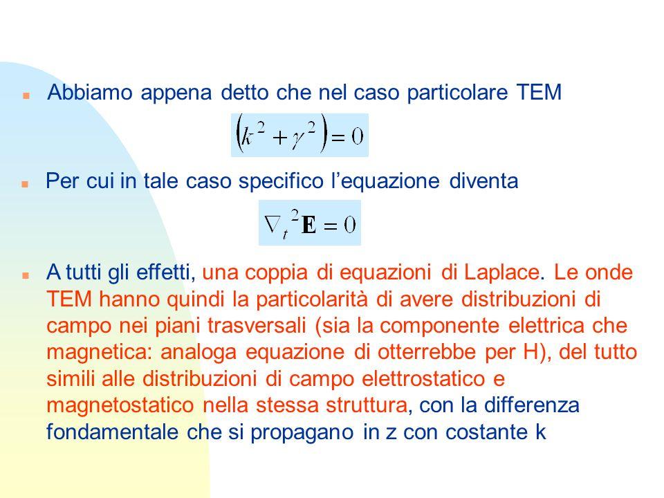 n Abbiamo appena detto che nel caso particolare TEM n Per cui in tale caso specifico lequazione diventa n A tutti gli effetti, una coppia di equazioni