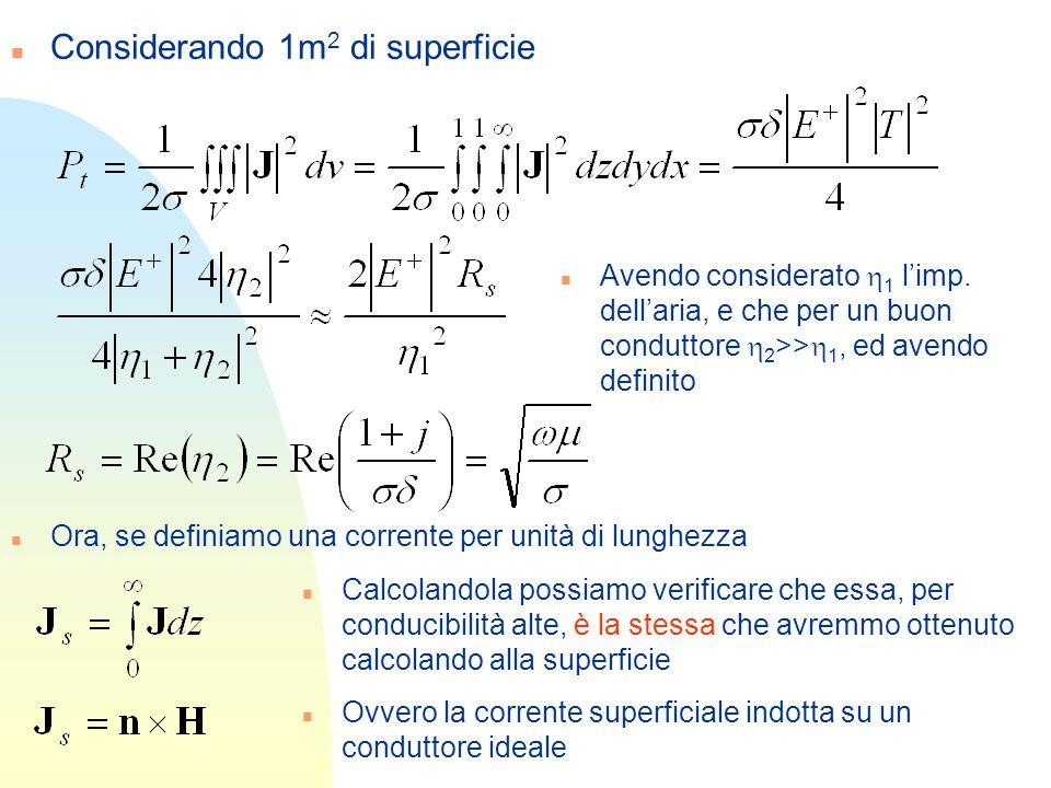 n Considerando 1m 2 di superficie Avendo considerato 1 limp. dellaria, e che per un buon conduttore 2 >> 1, ed avendo definito n Ora, se definiamo una