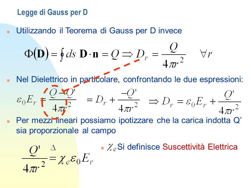 Legge di Gauss per D n Utilizzando il Teorema di Gauss per D invece n Nel Dielettrico in particolare, confrontando le due espressioni: n Per mezzi lin