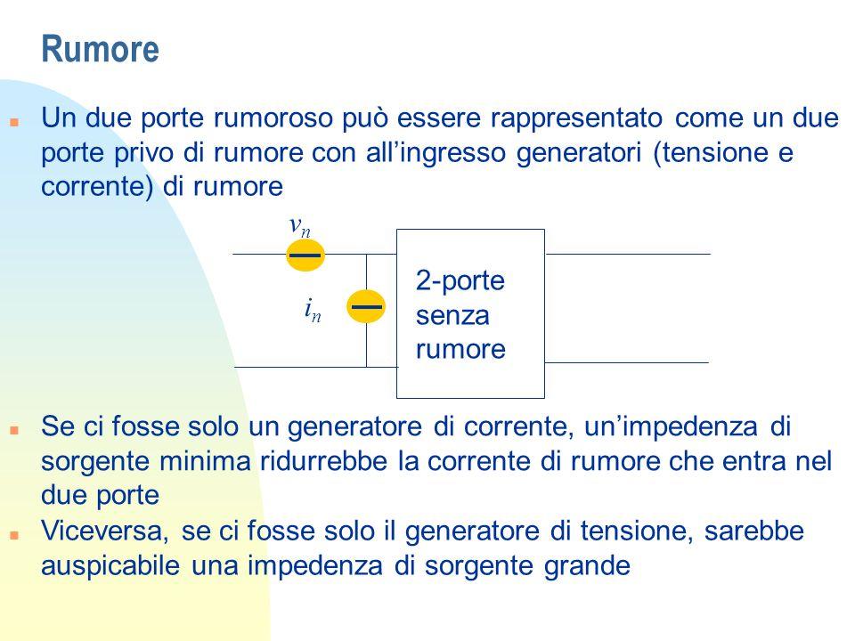Rumore n Un due porte rumoroso può essere rappresentato come un due porte privo di rumore con allingresso generatori (tensione e corrente) di rumore n