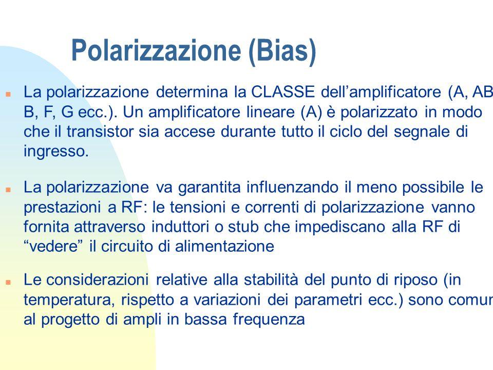 Polarizzazione (Bias) n La polarizzazione determina la CLASSE dellamplificatore (A, AB, B, F, G ecc.). Un amplificatore lineare (A) è polarizzato in m