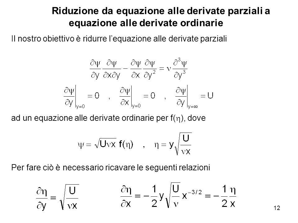 12 Riduzione da equazione alle derivate parziali a equazione alle derivate ordinarie Il nostro obiettivo è ridurre lequazione alle derivate parziali ad un equazione alle derivate ordinarie per f( ), dove Per fare ciò è necessario ricavare le seguenti relazioni