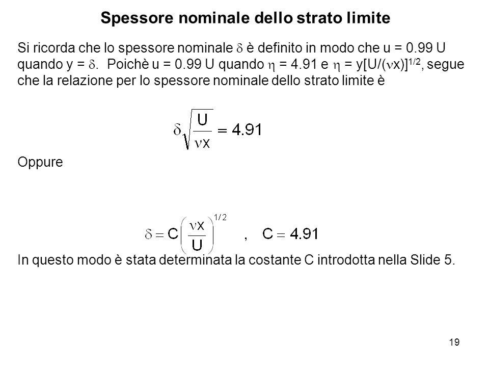 19 Si ricorda che lo spessore nominale è definito in modo che u = 0.99 U quando y =.