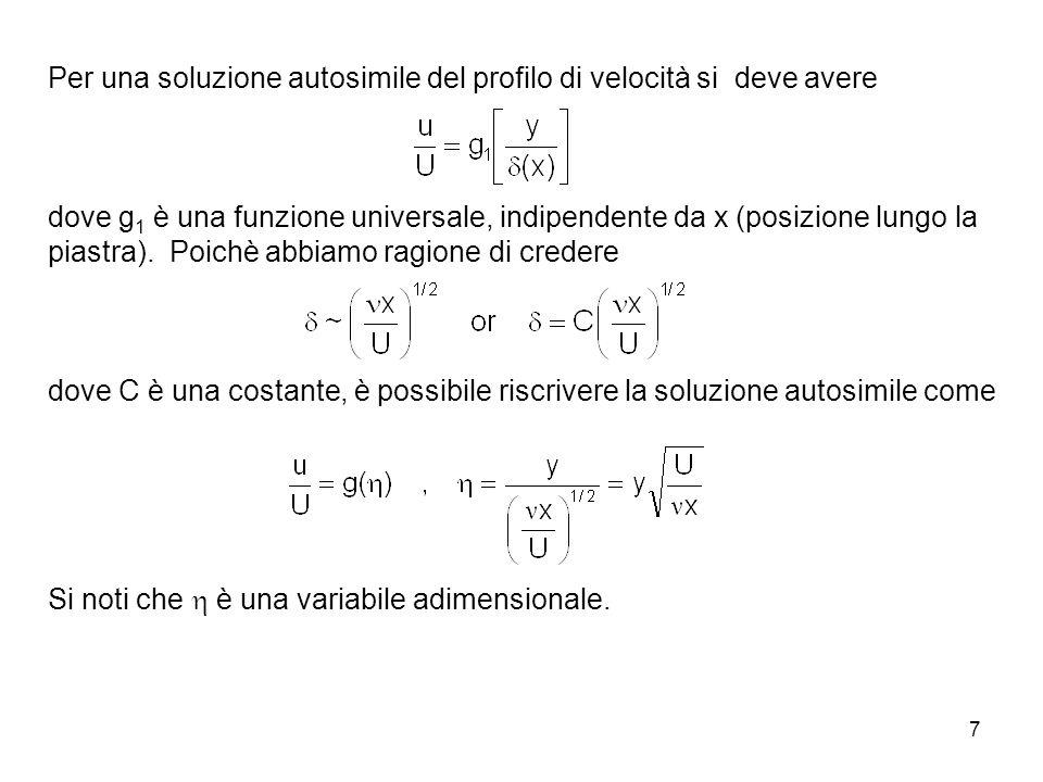 7 Per una soluzione autosimile del profilo di velocità si deve avere dove g 1 è una funzione universale, indipendente da x (posizione lungo la piastra).