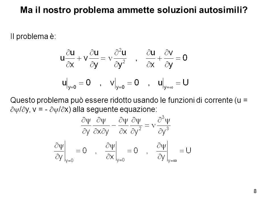 8 Ma il nostro problema ammette soluzioni autosimili.