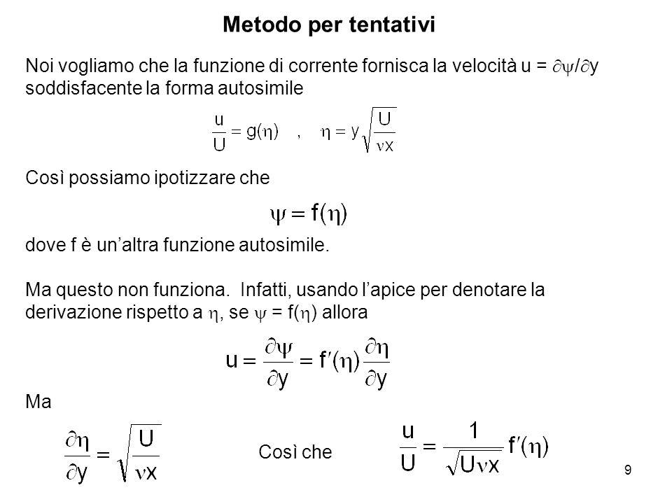 9 Metodo per tentativi Noi vogliamo che la funzione di corrente fornisca la velocità u = / y soddisfacente la forma autosimile Così possiamo ipotizzare che dove f è unaltra funzione autosimile.
