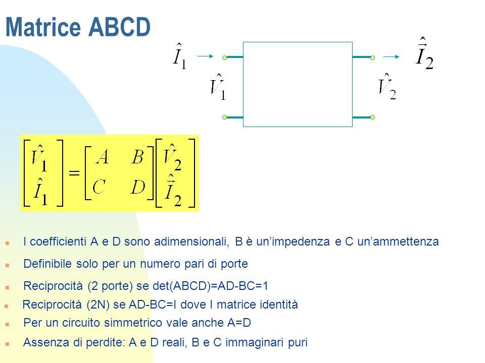 Matrice ABCD n I coefficienti A e D sono adimensionali, B è unimpedenza e C unammettenza n Definibile solo per un numero pari di porte n Reciprocità (