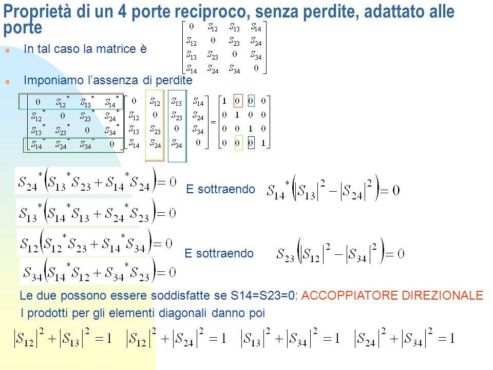 Proprietà di un 4 porte reciproco, senza perdite, adattato alle porte n In tal caso la matrice è n Imponiamo lassenza di perdite E sottraendo Le due p