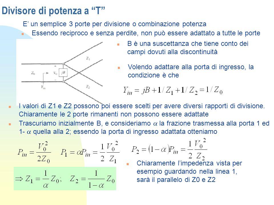 Divisore di potenza a T E un semplice 3 porte per divisione o combinazione potenza n Essendo reciproco e senza perdite, non può essere adattato a tutt
