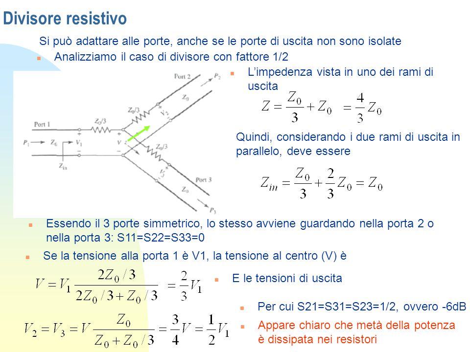 Divisore resistivo Si può adattare alle porte, anche se le porte di uscita non sono isolate n Analizziamo il caso di divisore con fattore 1/2 n Limped