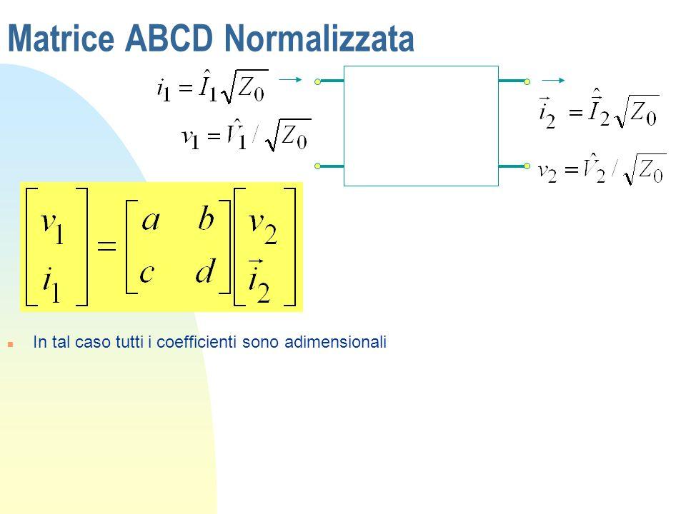 Matrice ABCD Normalizzata n In tal caso tutti i coefficienti sono adimensionali