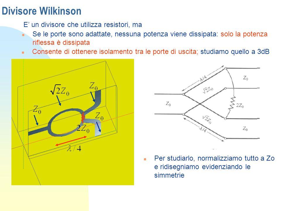 Divisore Wilkinson E un divisore che utilizza resistori, ma n Se le porte sono adattate, nessuna potenza viene dissipata: solo la potenza riflessa è d