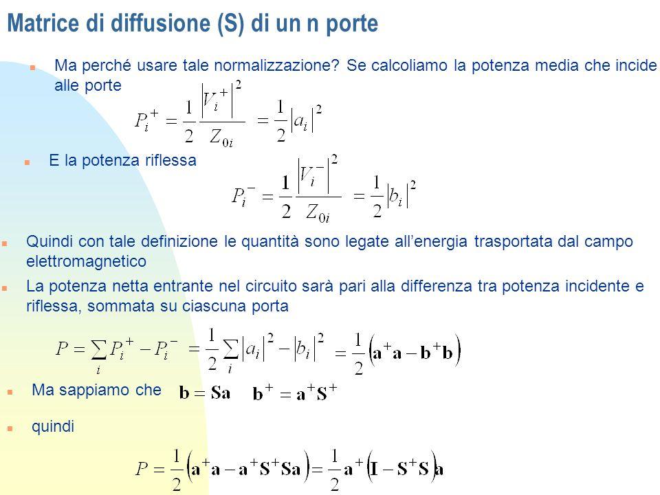 Matrice di diffusione (S) di un n porte n Ma perché usare tale normalizzazione? Se calcoliamo la potenza media che incide alle porte n E la potenza ri