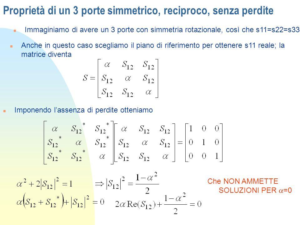 Proprietà di un 3 porte simmetrico, reciproco, senza perdite n Immaginiamo di avere un 3 porte con simmetria rotazionale, così che s11=s22=s33 n Anche